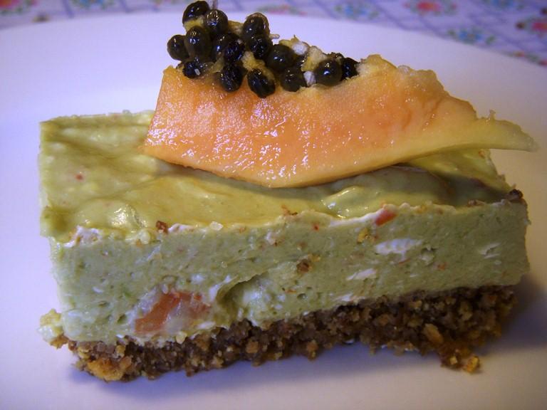 Cheesecake al guacamole con gamberetti