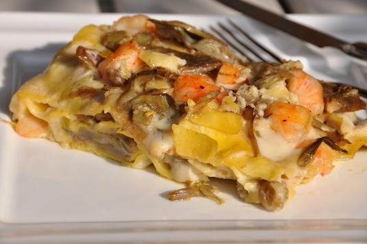 Lasagne con mazzancolle e carciofi