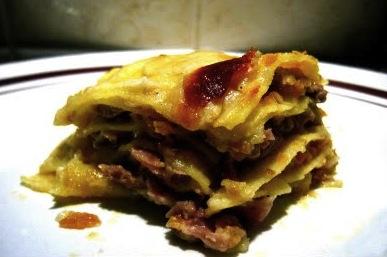 Sformato di lasagne al ragù bianco e gorgonzola