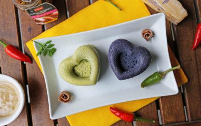 Sformatini di broccolo siciliano e di carote viola a forma di cuore per  San Valentino