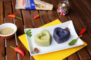 Sformatini di broccoletto siciliano e di carote viola con salsina alle acciughe del Cantabrico