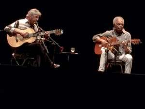 Caetano Veloso e Gilberto Gil, che hanno incantato tutto il pubblico di Villa Arconati