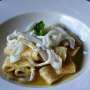 Calamarata con crema di fave e julienne di seppie scottate