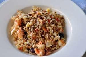 Riso Carnaroli integrale Riserva San Massimo con crostacei e tonno