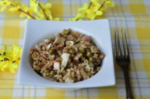 Riso Carnaroli autentico integrale con pollo grigliato, Salva Cremasco DOP, prosciutto cotto e verdure