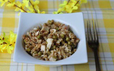 Riso Carnaroli autentico integrale con pollo grigliato, Salva Cremasco DOP, prosciutto e verdure