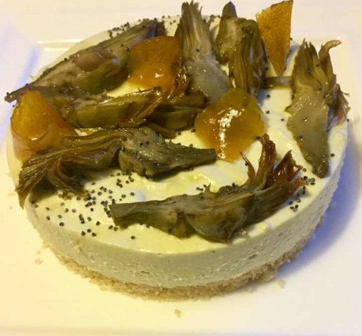 Cheesecake salata ai carciofi di Sardegna e limoni caramellati