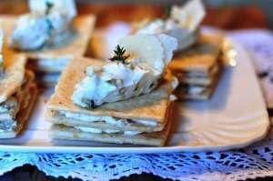 Millefoglie di Brisée con nocciole e Parmigiano e zucchina alla menta