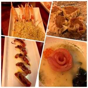 Scampi gratinati con panko, involtini al vapore di manzo e tartufo, sushi di tonno con foie gras, Carpaccio di ricciola su crema di miso ed alga