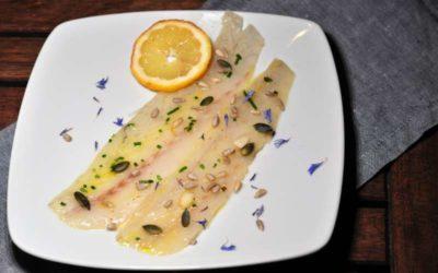 Filetto di branzino marinato al miele di castagno