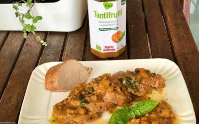Filetto di maiale con Tantifrutti albicocche e pesche al basilico