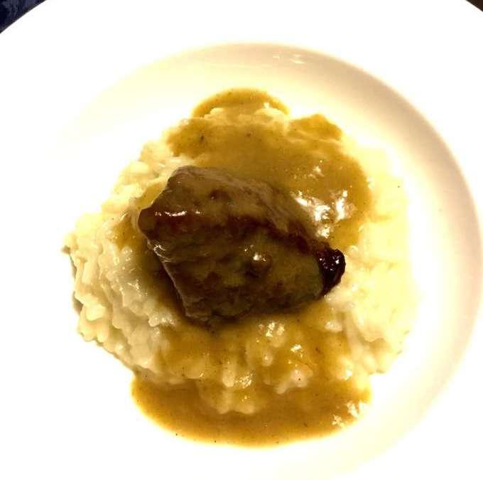 Guancetta di vitello brasata in bianco con riso Carnaroli autentico Ricetta della chef Victoire Gouloubi