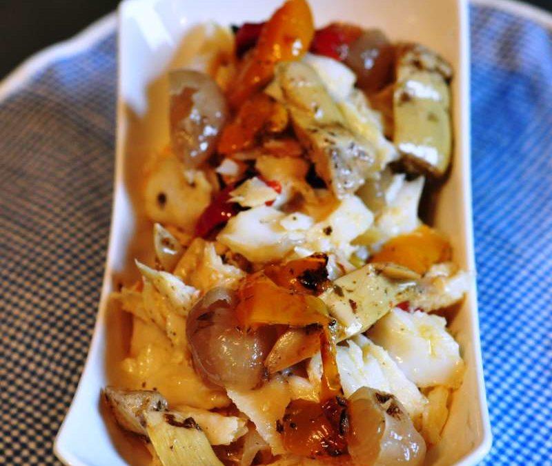 Insalata di baccalà con verdure grigliate sottolio