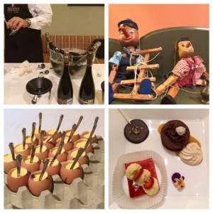 i Pinocchi, simbolo del ristorante Pinocchio di Borgomanero che gestisce il Golf Club di Bogogno ed immagini della serata La luna fra le stelle di Terre da Vino