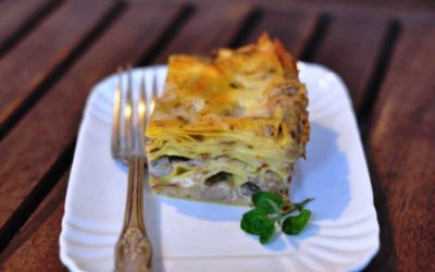 Pasticcio di lasagne ai funghi finferli e porcini