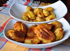 Madeleines salate con peperone giallo, provolone e pancetta affumicata