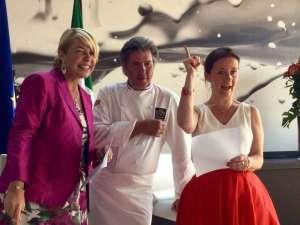 Michel Roth al Cafè des Chefs con Barbara Lovato di Atout France Italia e Catherine Guérin del Bocuse d'Or