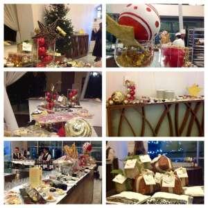 Dettagli del buffet e delle decorazioni natalizie