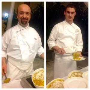 Gli chef Roberto Caruso dello Sheraton Malpensa e Fabio Fiorelli del Danieli di Venezia