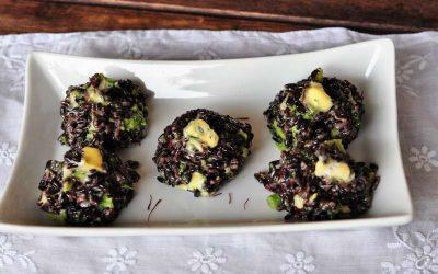 Palline di riso Venere con erborinato allo zafferano e broccoli