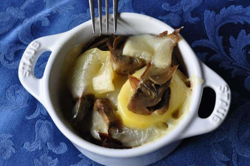 Patate, carciofi, bacon e Valtellina Casera DOP