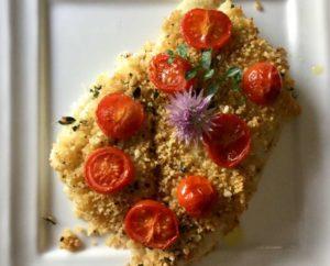 Rombolino in crosta di cous cous alle erbe aromatiche