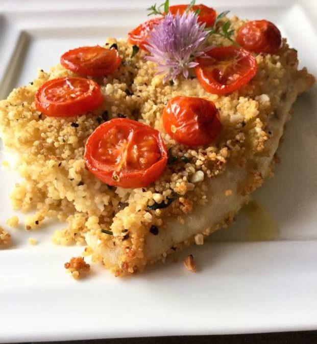Filetti di rombolino in crosta di cous cous alle erbe aromatiche