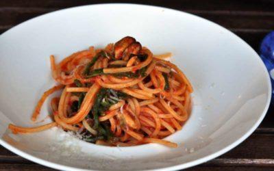 Spaghetto quadrato con cozze, fagiolini e Fioresardo