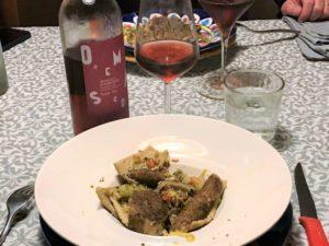 Testaroli Grani Antichi con lardo e verza - vino rosato ligure Ormeasco di Pornessio, Cascina Nirasca
