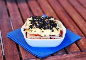 Tiramisù salato con crema al Provolone Valpadana DOP piccante