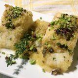 Baccalà gratinato al forno con granella di pistacchi