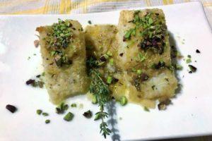 Trancetti di baccalà gratinato con pistacchi di Bronte