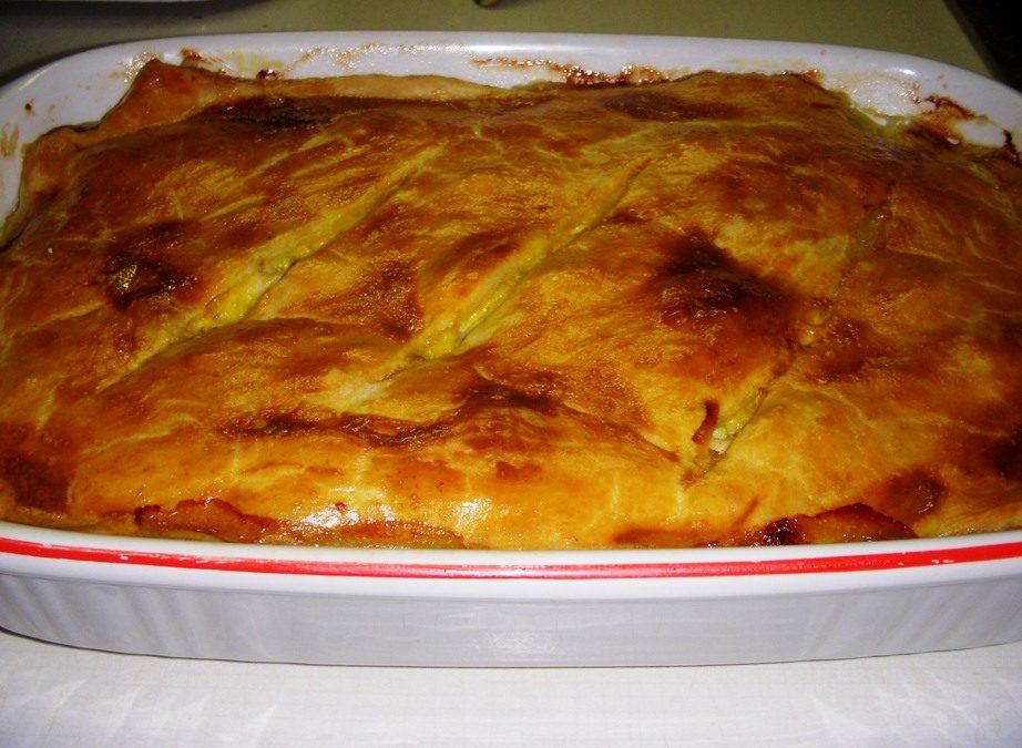 Pie di pollo, porri e prosciutto (Ham, chicken and leeks pie)