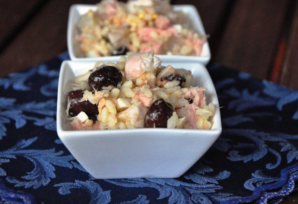 Polpo, tonno e olive con riso Carnaroli originale