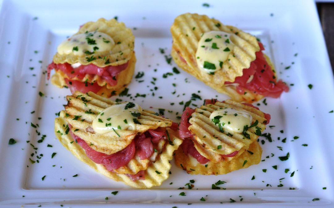 Torrette di carpaccio, Rustica San Carlo e zabaione salato