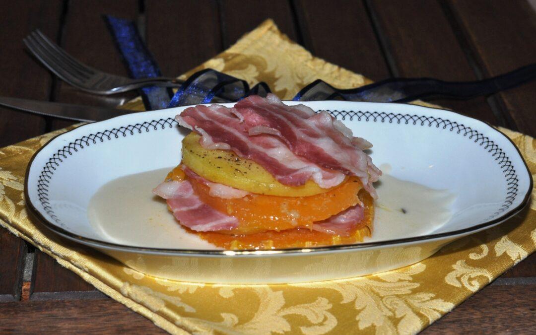 Torrette di patate, zucca e bacon croccante