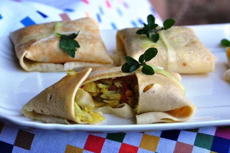 Fagottini di baccalà con verdurine al curry