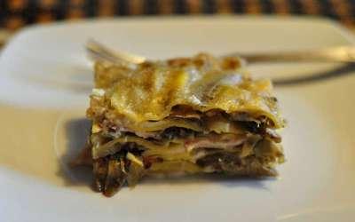 Lasagne con carciofi e pancetta